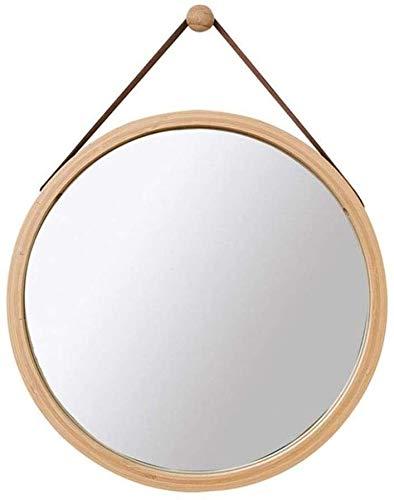 HOUSEHOLD HD opknoping spiegel muur Vanity Spiegel ronde make-up spiegels bamboe ingelijst scheerspiegel Thuis slaapkamer Dressing Spiegel hout kleur 30 cm WHLONG