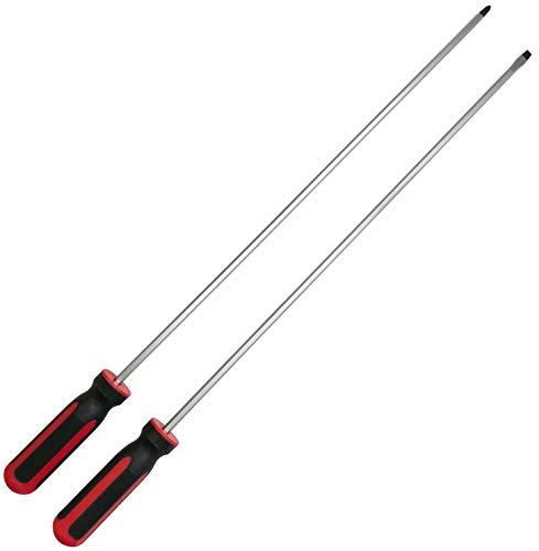 2 x Extra lange Schraubendreher Schraubenzieher Schraubenschlüssel 450 mm SCHLITZ 6 mm Kreuz PH2 (magnetischer Schlitz-Schraubendreher + Kreuzschlitz-Schraubendreher)
