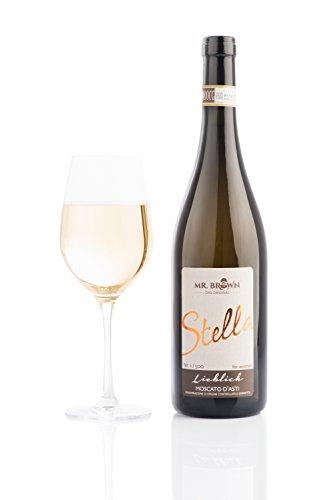 Mr. Brown Wein Stella | Lieblich | Moscato D'Asti ( 1 * 0,75l ) süß | fruchtig | prickelnd | Italien | exklusiv & limitiert | eiskalt genießen! 750 ml
