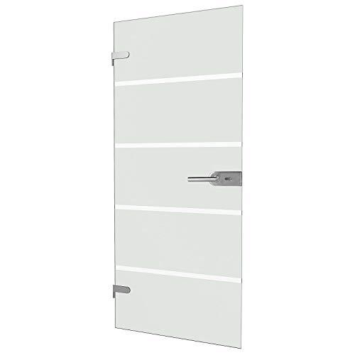 inova Glas-Drehtür + abschließbar PZ-Beschlag für Studio-Bohrungen Komplett-Set 834x1972x8 mm Echt-Glas Zimmer-Tür