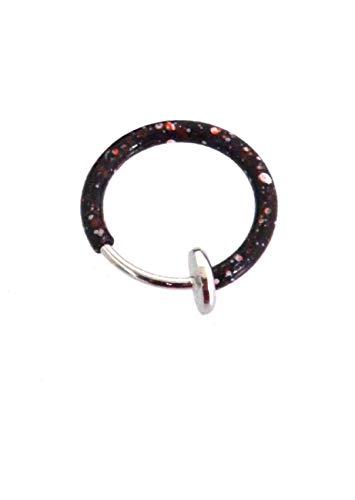 1x Faux Piercings de clip on Septum-Tondeuse nez oreille Bague acier chirurgical Revêtement 1,6x 10mm de choix de couleur Noir Rose