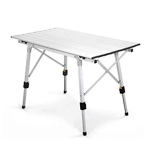 Jiaju Mesa plegable, mesa de pierna retráctil con aleación de aluminio para camping picnic, mesa de camping plegable aluminio liviano portátil compacto campamento a prueba de intemperie Mesa al aire l