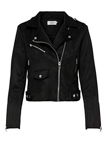 ONLY Damen ONLSHERRY Bonded Biker CC OTW Jacke, Schwarz (Black Black), (Herstellergröße: 40)