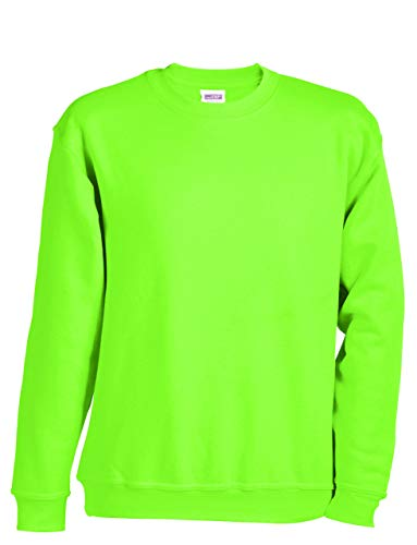 2Store24 Sweat-Shirt Homme Calssique Sweat-Shirt col Rond Round Sweat Heavy en Lime-Green Taille XL