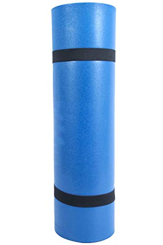 Mountain Warehouse Roller Mat - 180cm x 50cm x 0.8cm When Open and 18cm x 50cm When rolled, Light Sleeping Mat, Non-Inflating Blue One Size