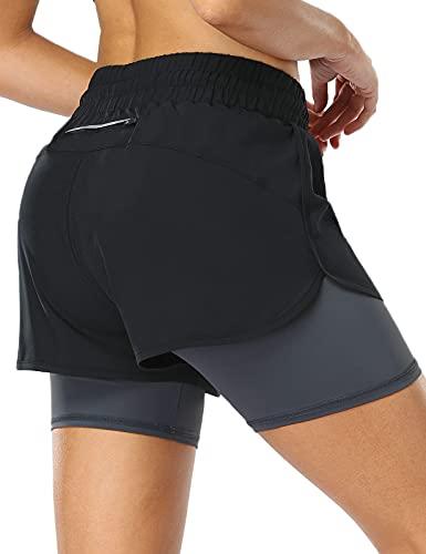 MOVE BEYOND Pantalón Corto de Running 2 en 1 para Mujer con Bolsillo con Cremallera Cordón Fitness Maratón Yoga Shorts, Negro y Gris Oscuro, L