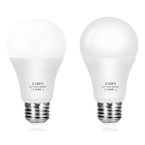 ZIKEY 10W E27 Lampadine LED con Sensore Crepuscolare, Luce Bianco Freddo 6000K 800lm, Automatico On/Off per Veranda, Corridoio, Patio - 2 Pezzis