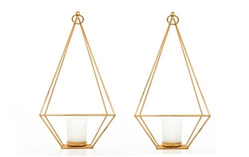 Hosley Set of 2 Gold Finish Tealight/Votive Holder Lantern with Votive Frosted Candle Holder- 11.5