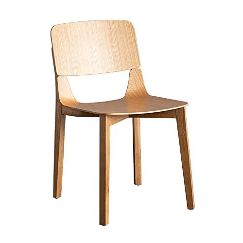 Silla de comedor de madera maciza para el hogar cocina desayuno respaldo silla sala de estudio mesa taburete vintage informal café reunión oficina silla, color madera