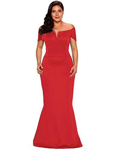 LALAGEN Women's Plus Size Off Shoulder Long Formal Party Dress Evening Gown Red XXXL