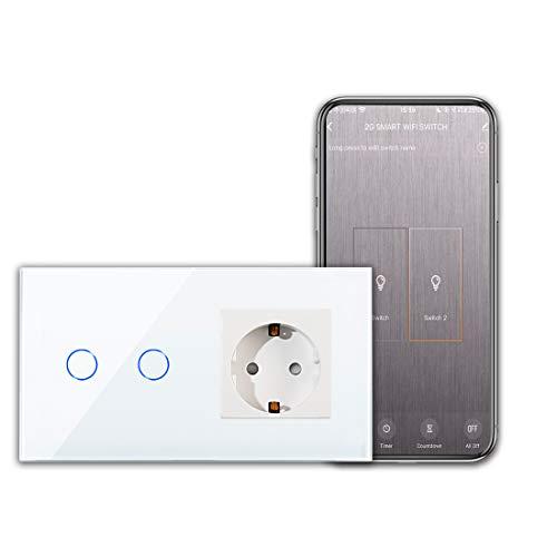 CNBINGO Interruptor de luz wifi con enchufe Interruptor táctil inteligente de Dos teclas simple táctil blanco con Alexa/Google Home, control de la aplicación Smart Life necesita línea de neutro