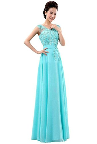 Vantexi Damen Langes Spitze Abendkleid Promkleid Abschlussballkleider Türkis Größe 34