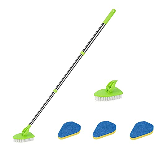 DIUDIU Extendable Tub and Tile Scrubber, 2 in 1 Detachable Cleaner Brush and Sponge Cleaning Brush with 4 Brush Heads, for People with Bad Backs to Clean Tub Shower (1set)