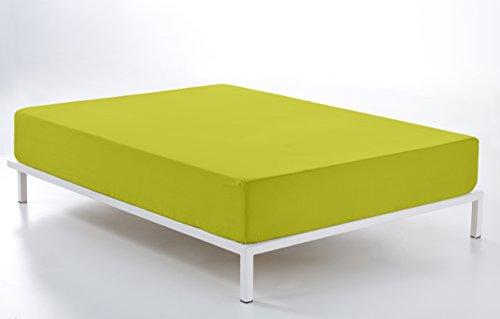 ESTELA - Sábana Bajera Ajustable Combi Color Pistacho - Cama de 135/140 cm. - 50% Algodón / 50% Poliéster - 144 Hilos