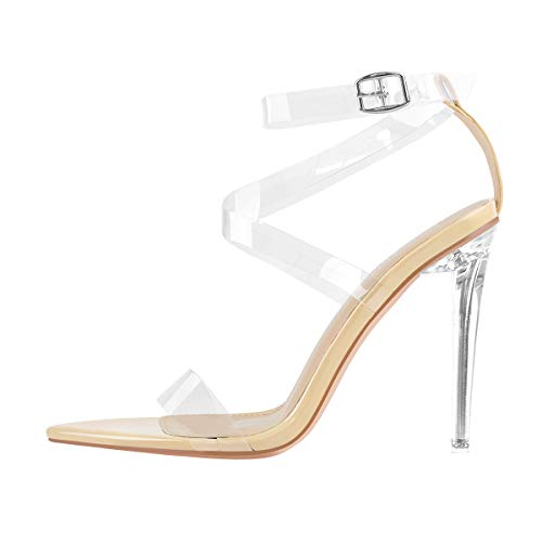 MissHeel Clear Pointed Toe Heels for Women Size 11 Stiletto Sandal Strappy Ankle Bukle Strap Sexy Node Nude