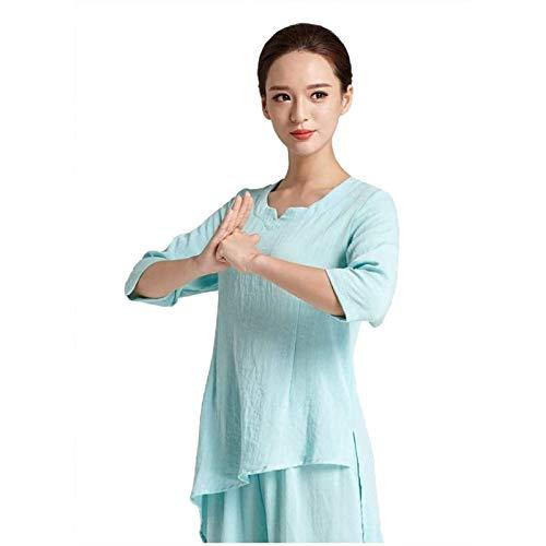 GHJUH Trajes De Tai Chi Ropa De Kung Fu para Mujeres Ropa De Lino De Entrenamiento De Artes Marciales Chinas Wing Chun Zen Meditación Traje De Yoga Ropa De PrácticaA-Small