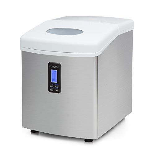 Klarstein Mr. Frost - Máquina de hacer hielo, Tanque de agua 3,3 L, Capacidad de 15 kg, 150 W, 3 tamaños, Preparación en 6-13 min. Aprox, Temporizador, Pantalla LCD, Indicador nivel agua, Blanco