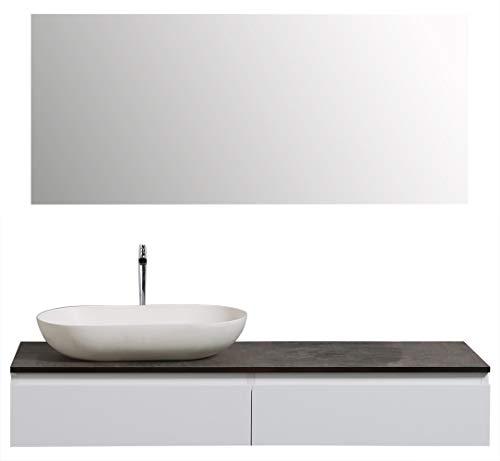 Badmöbel Vision 1200 Weiß matt - Spiegel:Ohne Spiegel, Zusätzl. Blende für Ablaufgarnitur:ohne zusätzl. Blende, Auswahl Waschbecken:Ohne Waschbecken