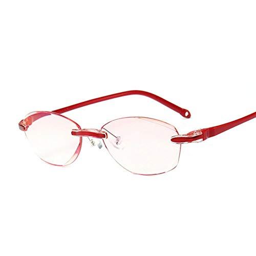 VKGJMHD Gafas De Lectura Anti Azul Mujeres Dimond Corte Gafas Sin Montura Gafas Anti Fatiga Hipermetropía Gafas Presbiópicas