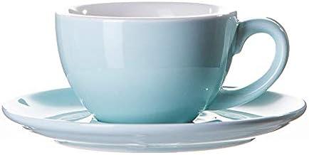كوب سيراميك مع صحن للقهوة المختصة 220 مل لمشروبات اللاتيه ، الكابتشينو، امريكانو Ceramic Porcelain Coffee Cup With Saucer