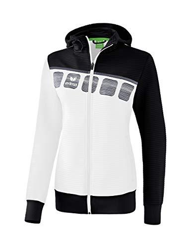 ERIMA Damen 5-C Trainingsjacke mit Kapuze, weiß/schwarz/dunkelgrau, 36, 1031912
