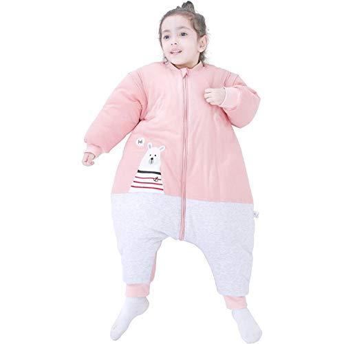 Saco de dormir para bebé unisex, pieza de ropa gruesa con patas para piernas, edredón antideslizante de algodón suave, artefacto de manga desmontable, pijamas para niños cálidos de otoño 6-18 meses