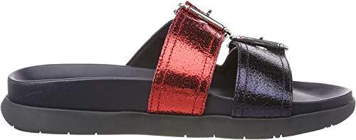 Tommy Hilfiger Crackle Metallic Footbed Sandal, Chanclas Mujer, Rojo (RWB 020), 40 EU