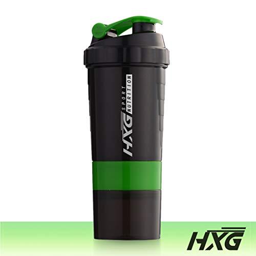 Hivexagon Borraccia Shaker per Mix proteici con più contenitori capacità 500ml Verde SA001