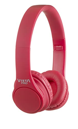 Vieta Pro Wave – Auriculares inalámbricos (Bluetooth, radio FM, micrófono integrado, entrada Auxiliar, reproductor Micro SD, plegables, autonomía 12 horas) rojo