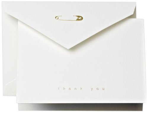 Crane & Co. Diaper Pin Thank You Note (CT1337), Pack of 10