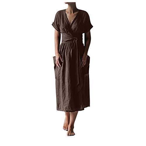 Damen Baumwoll Leinen Langes Kleid Lässig Einfarbig Kreuz V-Ausschnitt Kurzarm Kleid mit Taschen und Gürtel(XL,Kaffee)