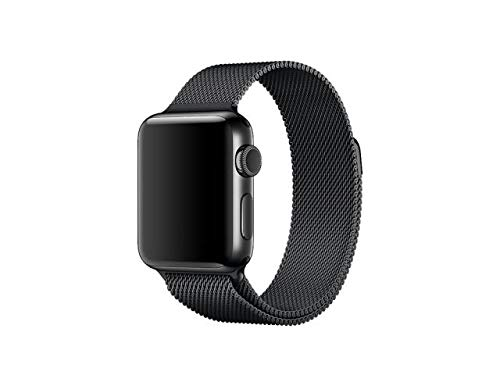 INKASUS Milan Style - Pulsera de Acero Inoxidable con Adaptador para Apple Watch versión 42 mm, Color Negro