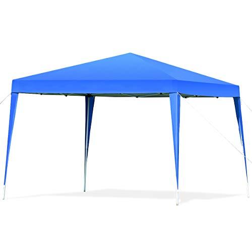 GOPLUS Pavillon Gartenpavillon Partyzelt, Festzelt faltbar, Bierzelt Gartenzelt Faltpavillon, Partypavillon aus Oxford-Gewebe, Farbewahl, 3x3x2,5m (Blau)