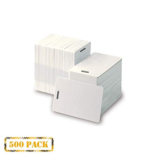 Pack of 500 White CR80 PVC Cards with Slot Punch on Short Side | 30 mil by easyIDea