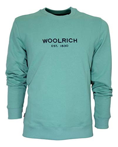 Woolrich Herren Sweatshirt Mens Luxury Light Crew Neck Cotton Farbe Water Green, 3537_1-3, 3537_1-3 100