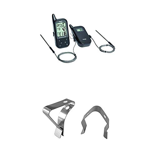TFA Dostmann Küchen-Chef Digitales Bratenthermometer/Grillthermometer Funk, 2 Einstechfühler zur Messung der Ofen- und Kerntemperatur + Clips für Grill-Bratenthermometer
