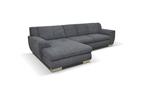 DOMO Collection Nika | Eckcouch mit Schlaffunktion in L-Form | Sofa Eckgarnitur, Mikrofaser, grau, 277x156x78 cm