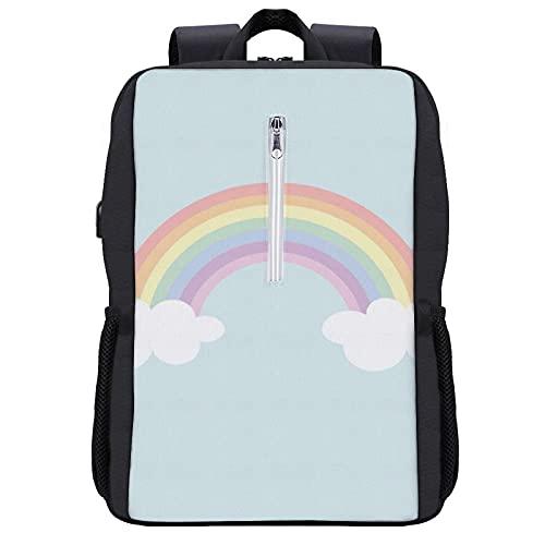 Zaino per laptop da viaggio,Graphic Bright Blue pastello arcobaleno cielo colore verde Curvo Design piatto giallo,Borsa per computer antifurto all acqua Business Slim con porta di ricarica USB