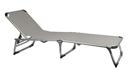 MaxxGarden Sonnenliege Klappbar - Camping Liege Liegestuhl Relaxliege Strandliege - Aluminium - 189x59 cm - grau