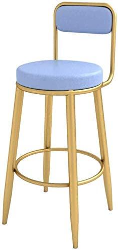 Barkruk keuken High Retour barkruk Pub barkruk goud barkruk metalen poten Casual eetkamerstoel bekleed PU lederen kussen 200 kg draagkracht blauw