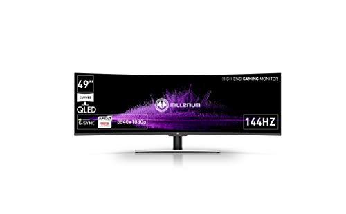 Millenium MD49 - Monitor Gaming Curvo de 49' para e-Sport (QLED, Formato Ultra Panorámico de 32:9, 3840x1080P, 144hz, Respuesta 4ms, UltraWide Full HD, Pantalla HDR 400) Color Negro