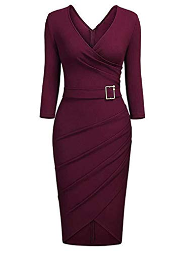 Dames Vintage V-hals Kruis Sexy Onregelmatige zoom 3/4 mouw Cocktail Party Vrouwen Jurk, Bordeaux rood, XL