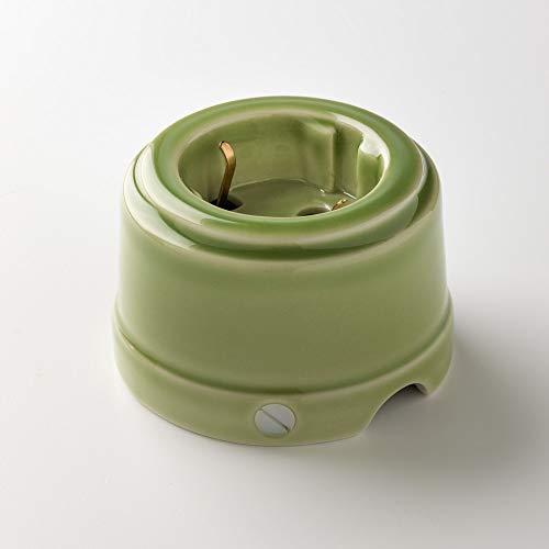 Klartext - Steckdose Unel Belle EPOQUE im Vintage-Stil zur Installation mit Textilkabel, aus hochwertigem Porzellan, Farbe glänzend grün