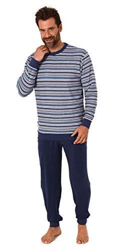 Edler Herren Frottee Pyjama Schlafanzug mit Bündchen - Streifenoptik - 212 101 13 763, Farbe:Marine, Größe:52