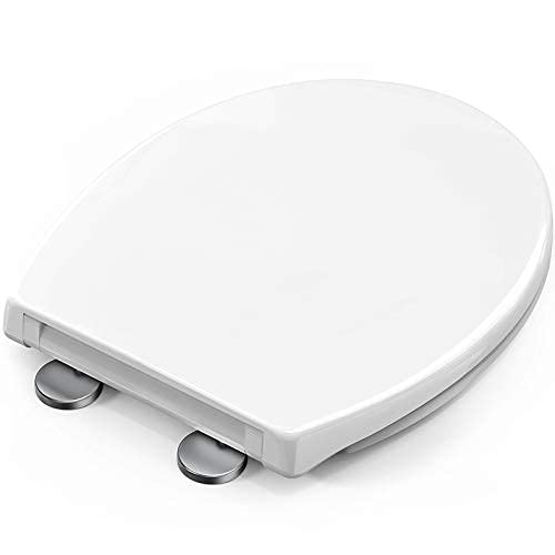 STOREMIC Toilet Seat Soft Close, Toilet Seats with Quick Release, Simple Top and Bottom Fixing, Sturdy Duroplastic Anti-Bacterial Toilet Lid with Stainless Adjustable Hinges, O Shape Loo Seat White