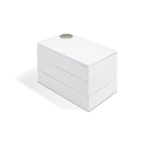 Umbra Spindle Schmuckkasten – Schwenkbares Schmuckkästchen mit 3 Ebenen zur Aufbewahrung von Schmuck, Uhren, Accessoires, Souvenirs und Mehr, Holz / Hochglanz Weiß