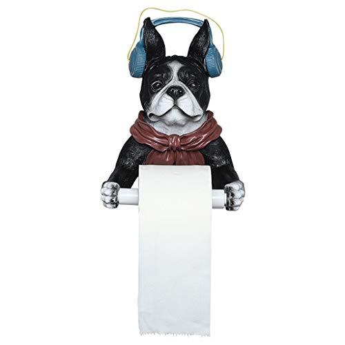 N/A/a Soporte de Papel Higiénico para Perro Fresco Decoración de Pared de Baño Decoración de Resina