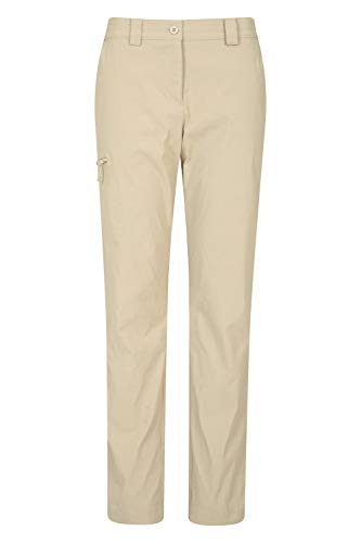 Mountain Warehouse Hiker Stretch Womens Trousers - UV Protection Ladies Pants, Quick Drying Bottoms, Multiple Pockets - Best for Outdoors, Picnic, Parks Beige 48