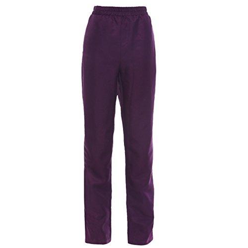 Anladia Pantalones de Uniforme de Mujer Pantalones de Trabajo Pantalones Elásticos Talla Única en Color Negro Violeto (Violeto)
