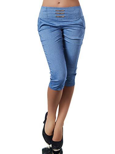 Diva-Jeans N828 Damen Caprihose Treggings Leggings Stoffhose Sommerhose Knielang 3/4 Capri, Farben:Blau, Größen:XL